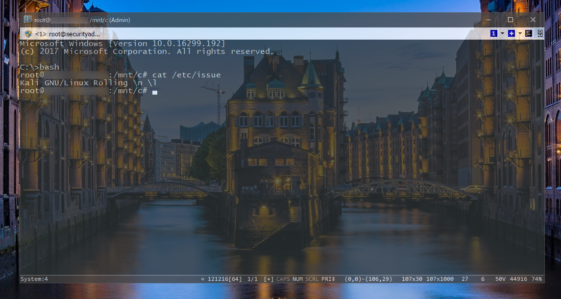 Kali on the Windows Subsystem for Linux (WSL) in action